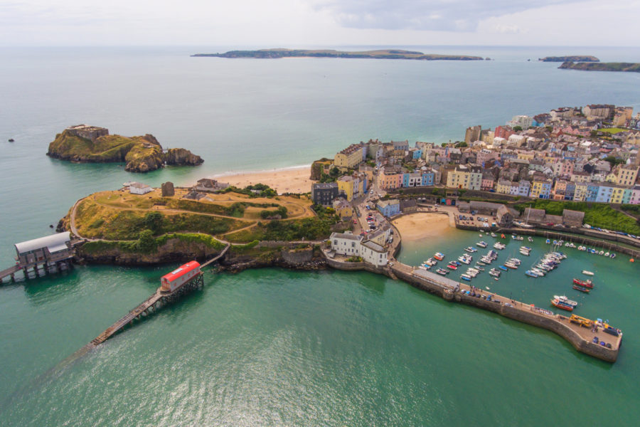 Aerial view of Tenby and Caldey Island